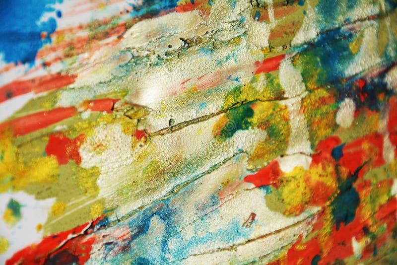 Wächserne Hintergrund- und Bürstenanschläge des gelben blauen orange Schlammes, Farben, Stellen lizenzfreie stockfotos