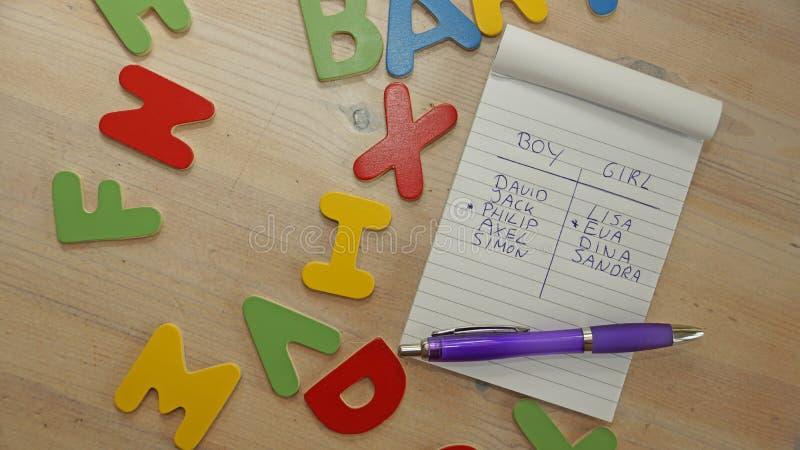Wählen des Babynamens für einen Jungen oder ein Mädchen lizenzfreies stockfoto