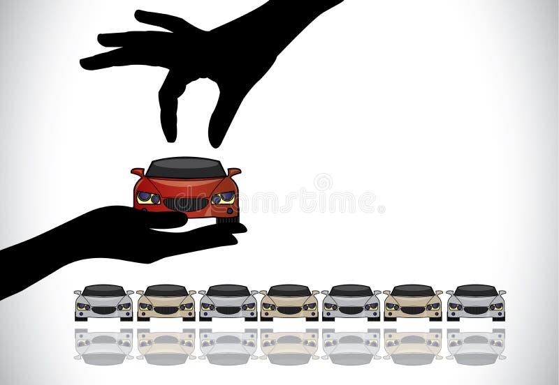 Wählen des besten roten Autos vom Verkaufskonzept lizenzfreie abbildung