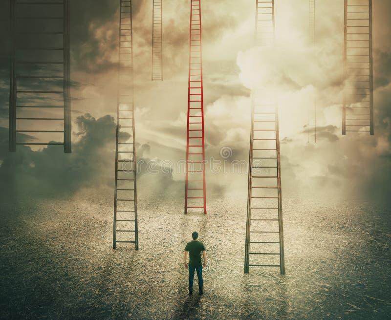 Wählen eines anderen Treppenhauses zum Unbekannten stockfoto