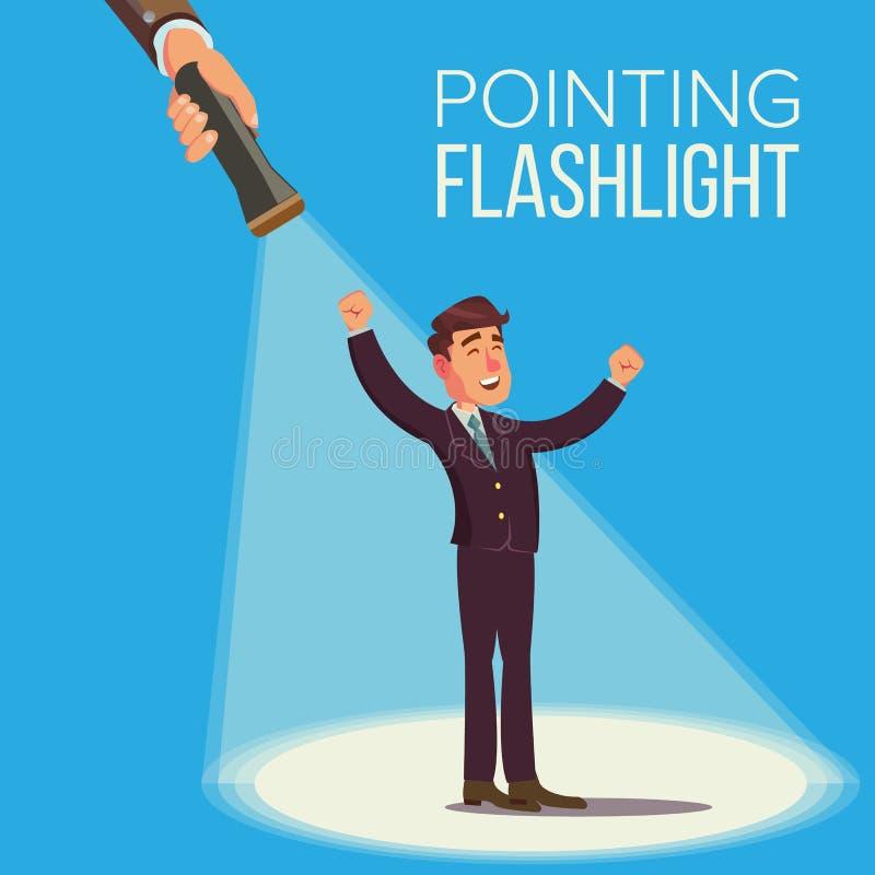 Wählen eines Angestellt-Vektor-Konzeptes Lächelnder Geschäftsmann in der Klage stehen Person For Hiring Taschenlampe, die auf zei vektor abbildung