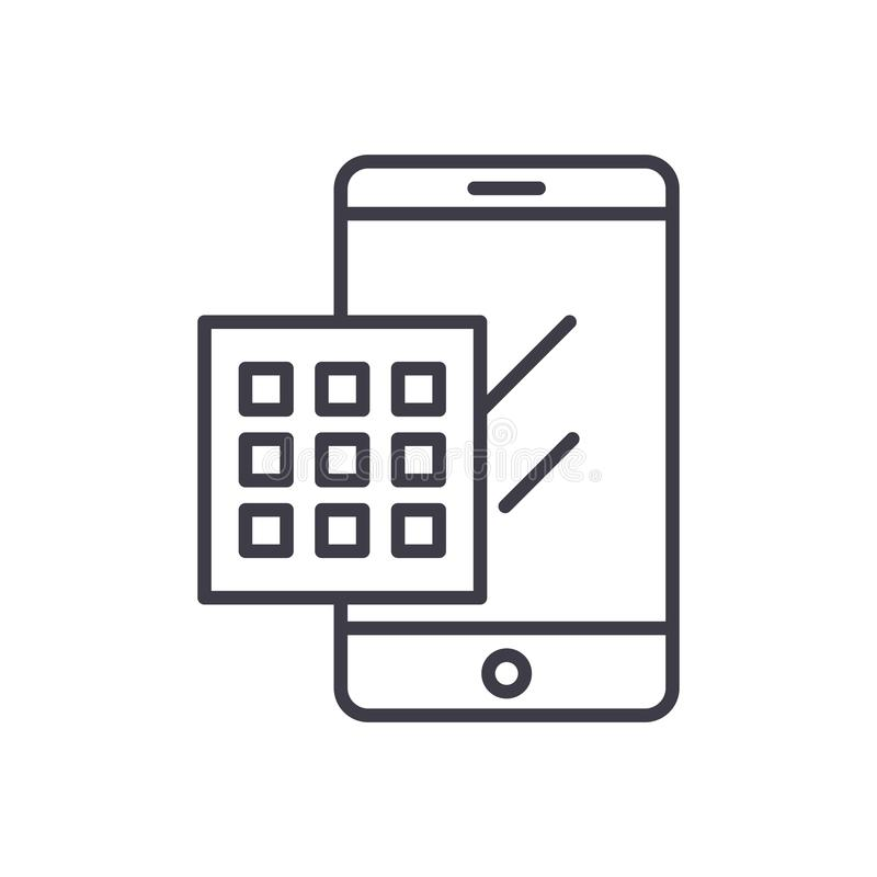 Wählen eines Zahlschwarz-Ikonenkonzeptes Wählen eines flachen Vektorsymbols der Zahl, Zeichen, Illustration lizenzfreie abbildung