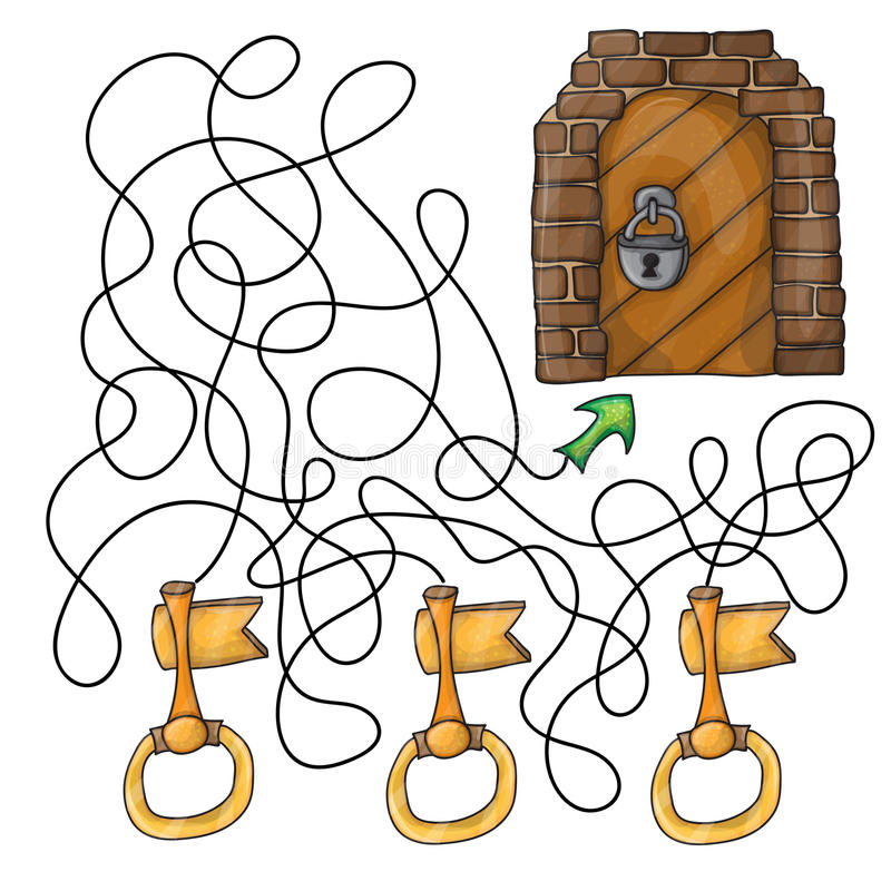 Wählen Sie den Schlüssel zur Tür - Labyrinthspiel für Kinder vektor abbildung