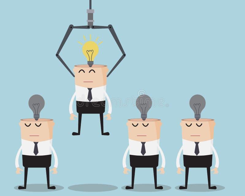 Wählen Sie Geschäftsmann-One Have Bulb-Idee auf seinem Kopf stock abbildung