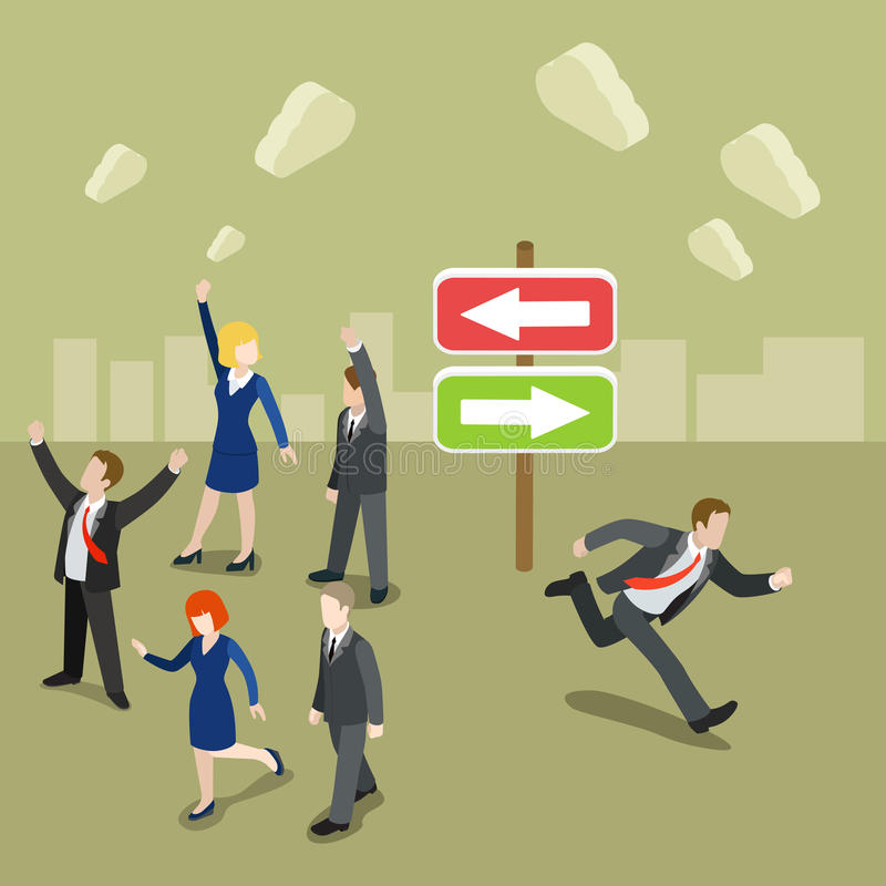 Wählen Sie Ihren tanzenden flachen isometrischen Vektor 3d des Geschäftsmannes der Weise lizenzfreie abbildung