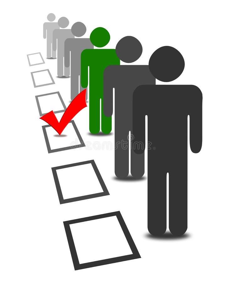 Wählen Sie Leute in den Auswahlwahl-Abstimmungskästen lizenzfreie abbildung