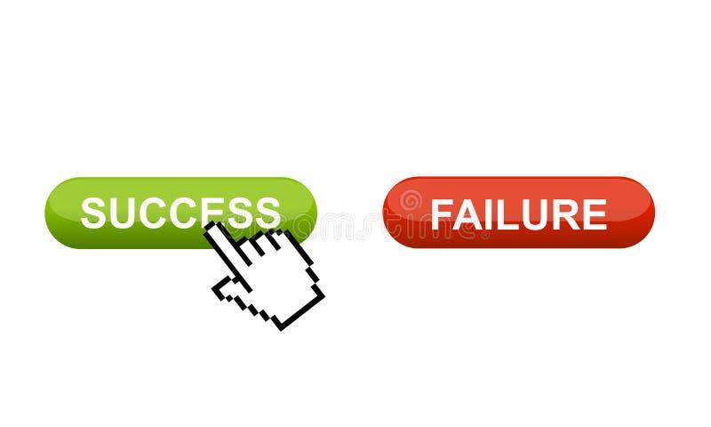Wählen Sie zwischen Erfolg oder Störung stock abbildung