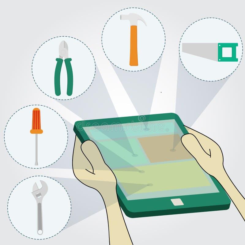Wählen von Werkzeugen auf Tablette lizenzfreie abbildung
