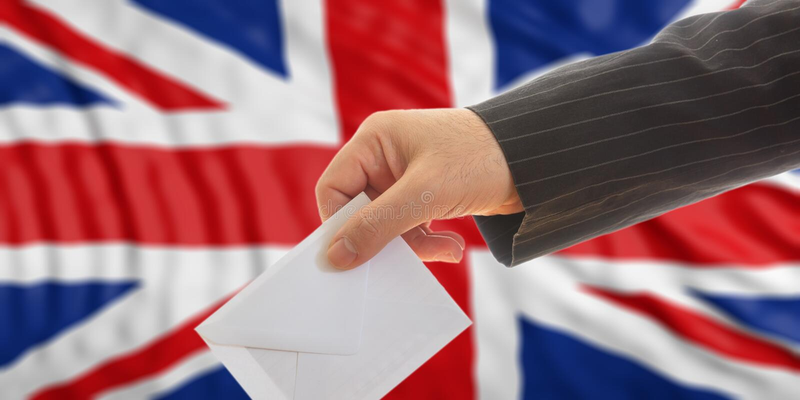 Wähler auf dem Aufgeben des BRITISCHEN Flaggenhintergrundes Abbildung 3D lizenzfreie abbildung