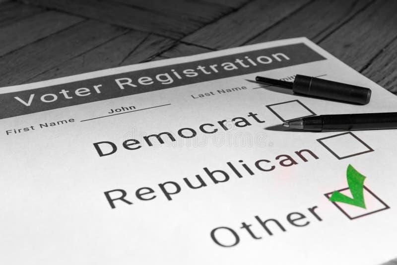 Wählerregistrierungs-Form - andere/Drittpartei lizenzfreies stockbild