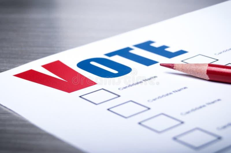 Wählerstimmzettelnahaufnahme lizenzfreie stockfotos