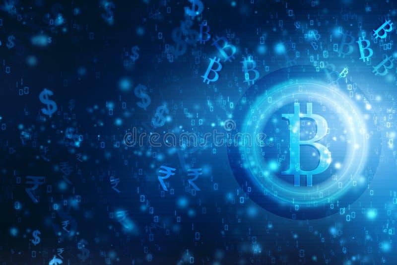 WÄHRUNG Lobal-Zusammenfassung Bitcoin Schlüsselblockchain-Technologie-Hintergrund-Illustration vektor abbildung