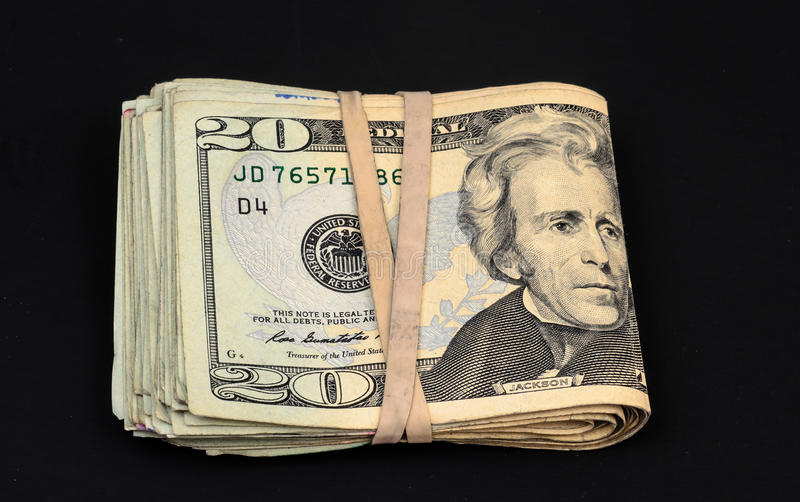 Währung Vereinigter Staaten 20 Dollarscheine lizenzfreie stockfotografie