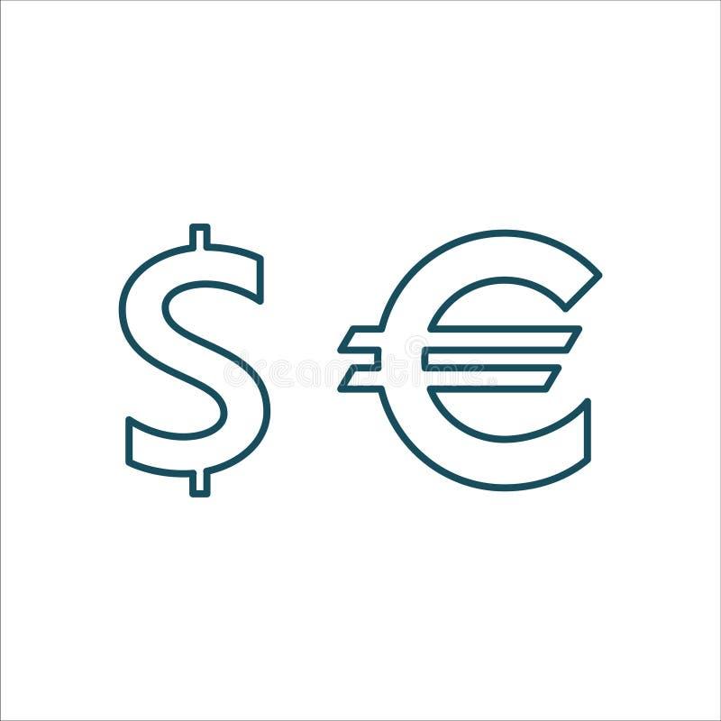 Währungs-Ikonen-Vektor-Linie Kunst lizenzfreie abbildung