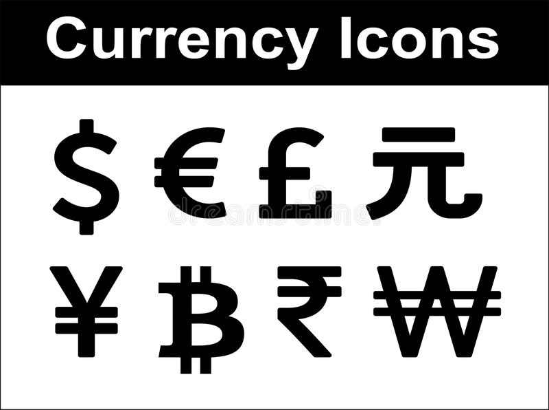Währungsikonen eingestellt. lizenzfreie abbildung