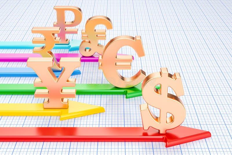 Währungsrennkonzept, 3D stock abbildung