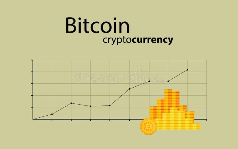 WÄHRUNGSstock-Diagrammdiagramm Bitcoin Schlüsseldes Börse-Investitionshandels vektor abbildung