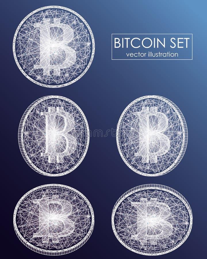 Währungsvektorikonen und -symbole Bitcoin digitale Schlüsselwährungs-Scheinmünzen mit bitcoin Symbol stock abbildung