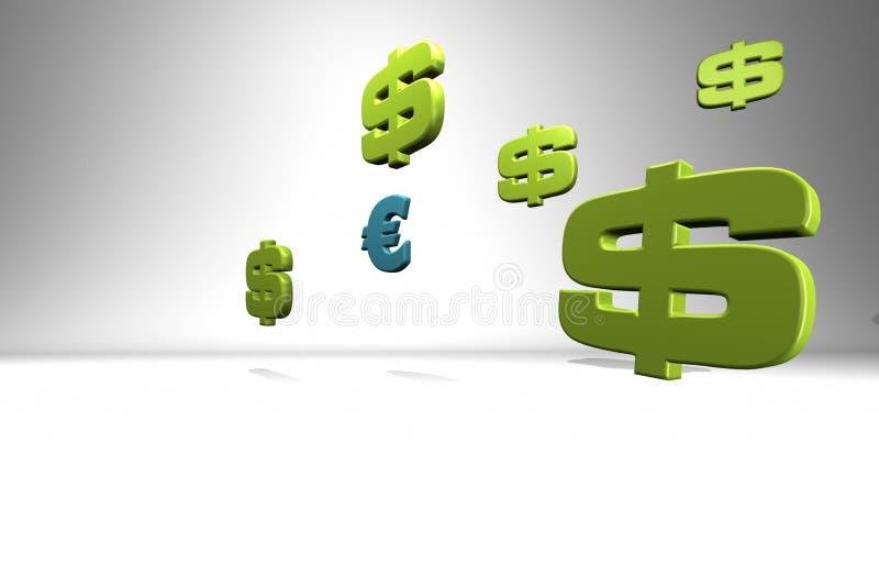 Währungszeichen auf Weiß lizenzfreie abbildung