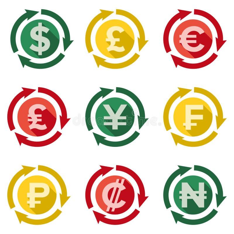 Währungszeichen die Hauptarten Flaches Design stockfotografie