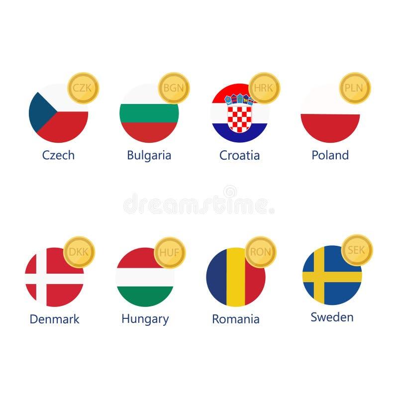 Währungszeichen und Flaggen stock abbildung
