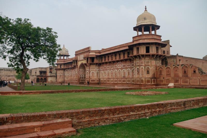 Wände des roten Forts von Agra, Indien stockfotos