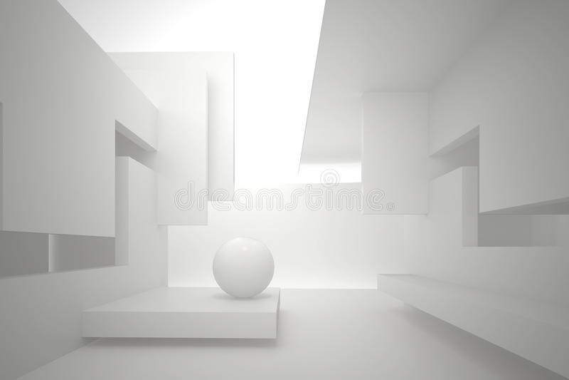Wände mit rechteckigen Löchern, mehrstufige Decke, weißer Bereich auf dem Boden stock abbildung