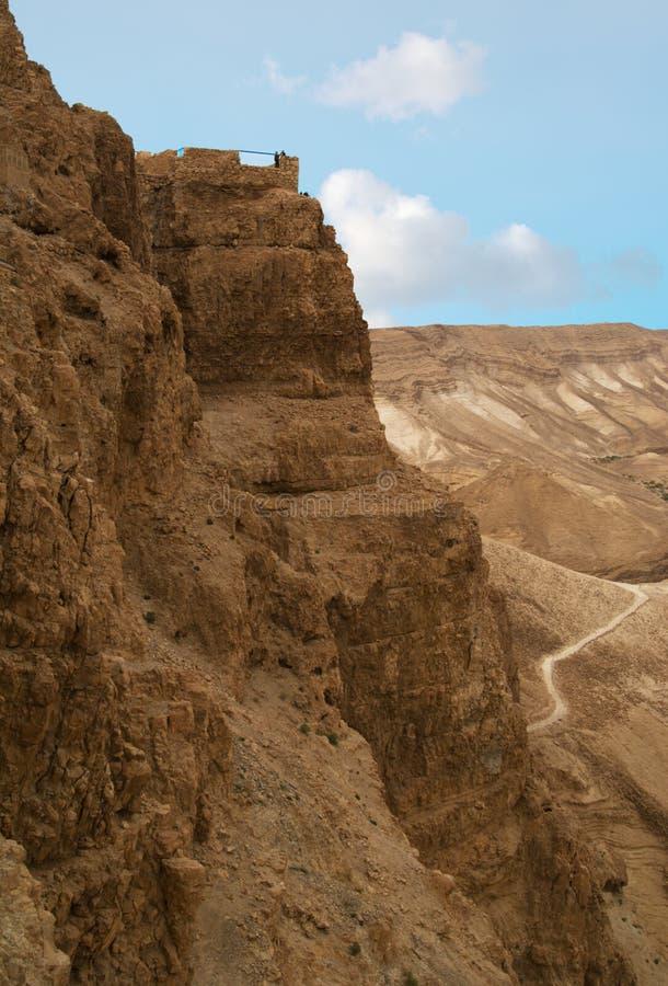 Wände oben auf Mt. Masada lizenzfreies stockfoto