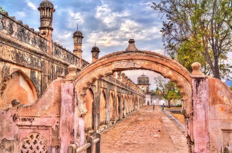 Wände von Bibi Ka Maqbara, von alias Mini Taj Mahal Aurangabad, Indien lizenzfreie stockfotografie