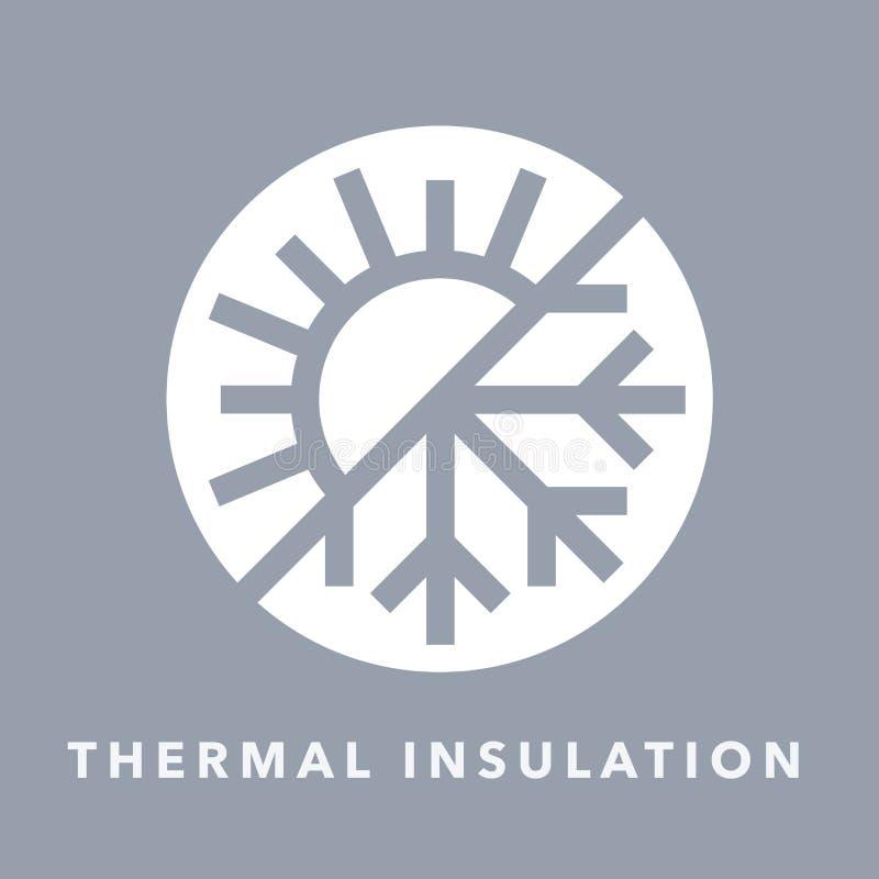 Wärmedämmungsikone mit Sonnen- und Schneeflockensymbol vektor abbildung