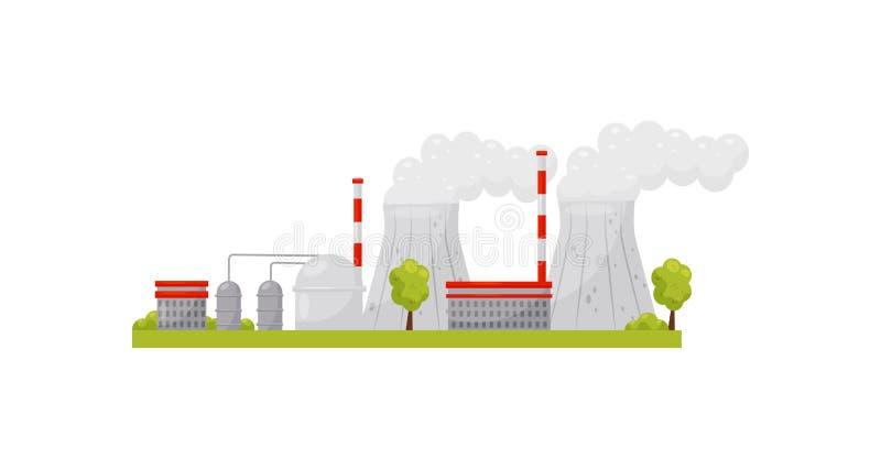 Wärmekraftwerk mit Industriebauten und Pfeifen Stromerzeugung Alternative Energie Flacher Vektor stock abbildung