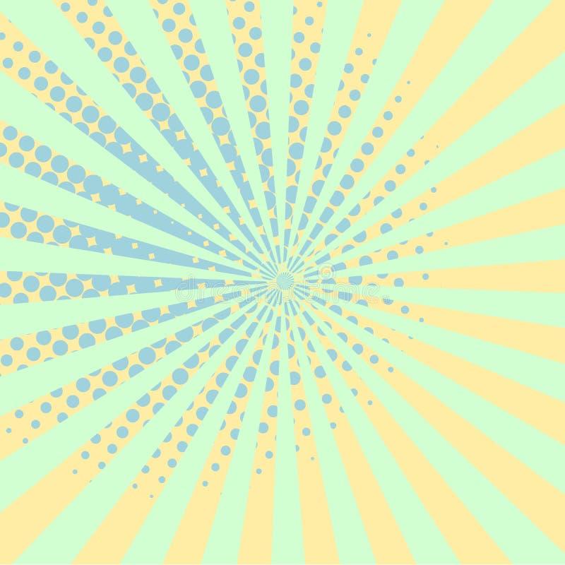 Wärmen Sie orange beschmutzten Hintergrundraster der Pop-Art Retro- komisches Halbton lizenzfreie abbildung