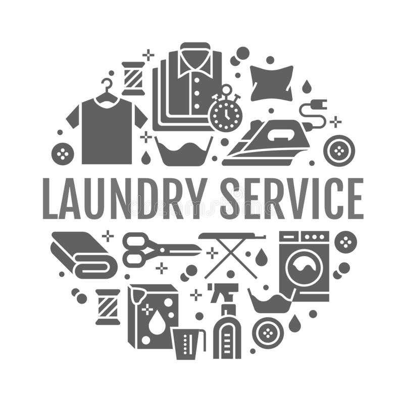 Wäsche-Service-Fahnenillustration mit flachen Glyphikonen Trockene Reinigungsanlage, Waschmaschine, Kleidungsschuh lizenzfreie abbildung
