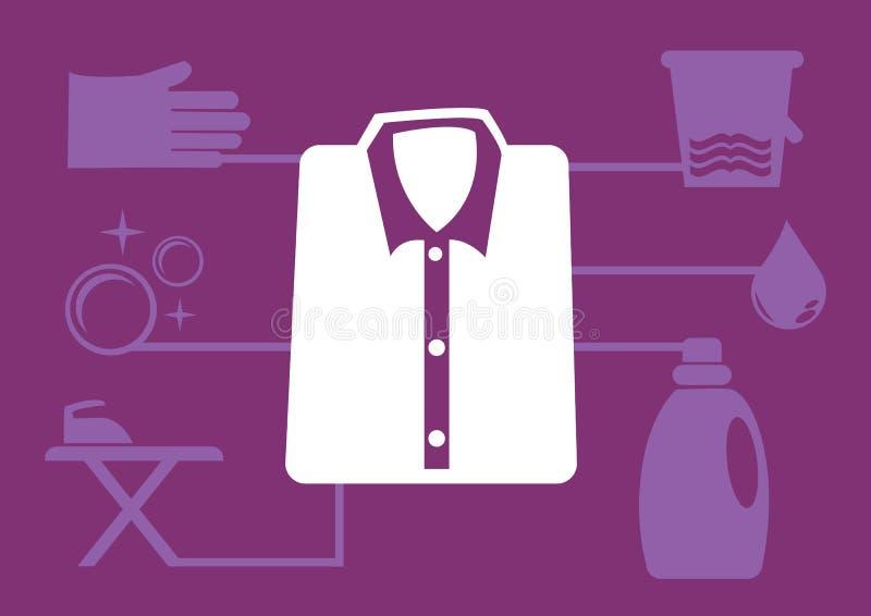 Wäsche-Service-Vektor-Ikonen für Infographics lizenzfreie abbildung