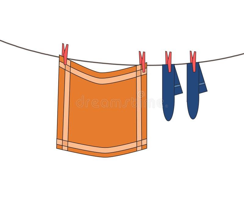 Wäscheleine mit dem Hängen der gewaschenen orange Kleidung richten Stoff und b an stock abbildung