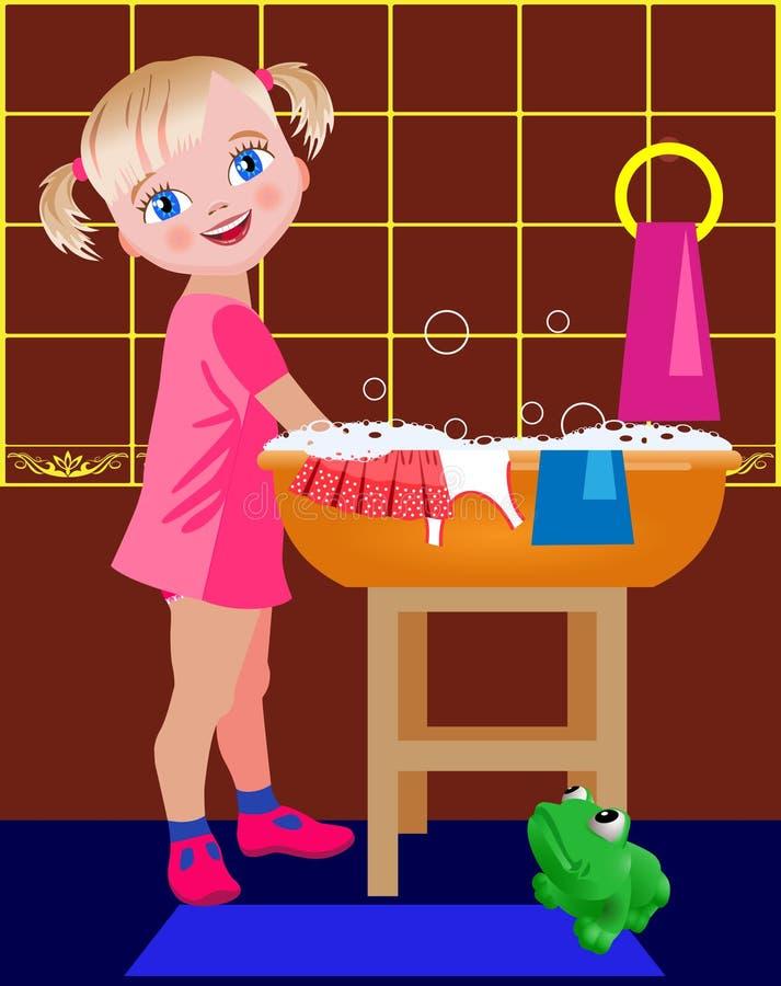 Wäschen des kleinen Mädchens stock abbildung