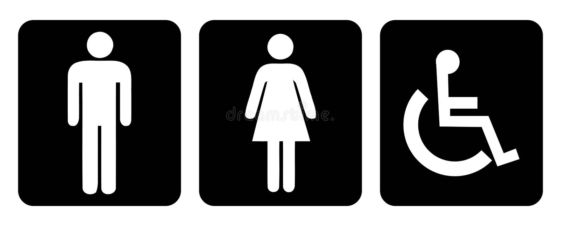 Wäscheraum- und -Toilettensymbol in der schwarzen Hintergrundzeichnung von der Illustration lizenzfreie abbildung