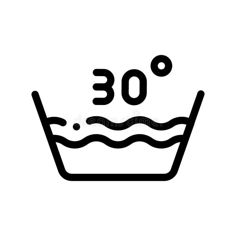 Wäscherei dreißig der Celsiusvektor-Grad Linien-Ikone lizenzfreie abbildung