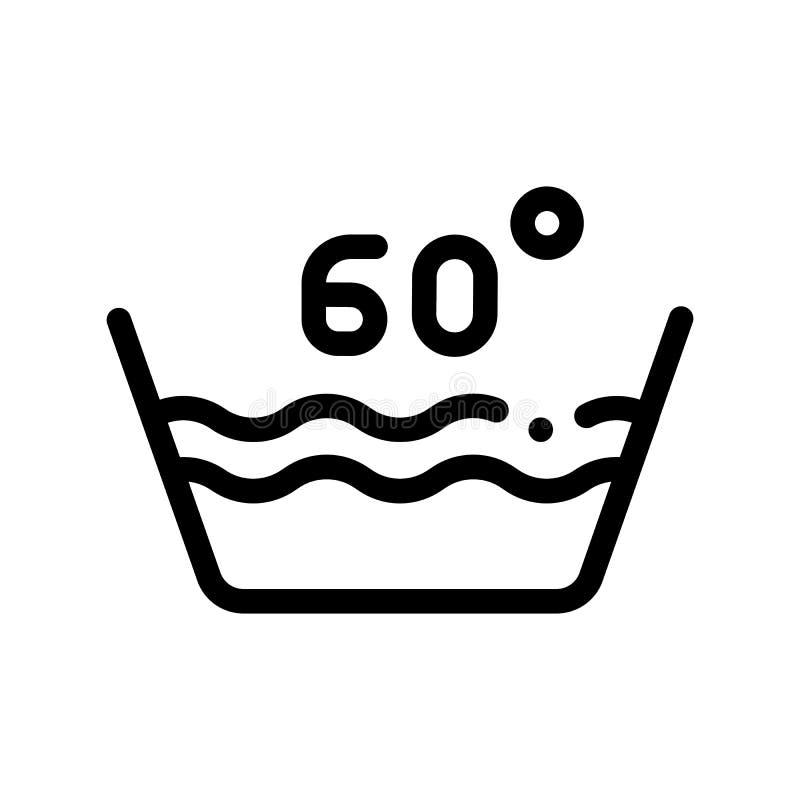 Wäscherei sechzig Grad-Celsiusvektor-Linie Ikone lizenzfreie abbildung