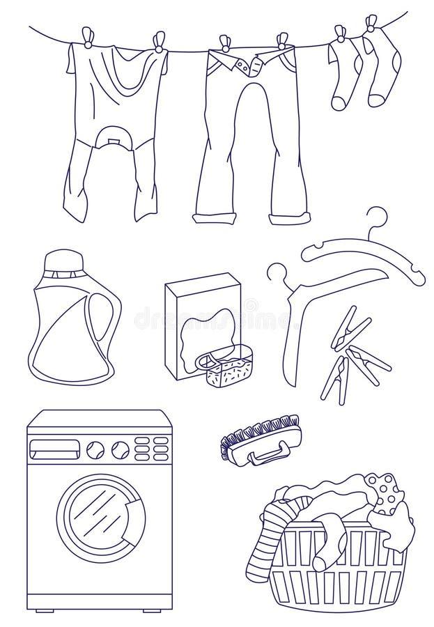 Wäscherei stand Ikonenset in Verbindung lizenzfreie abbildung