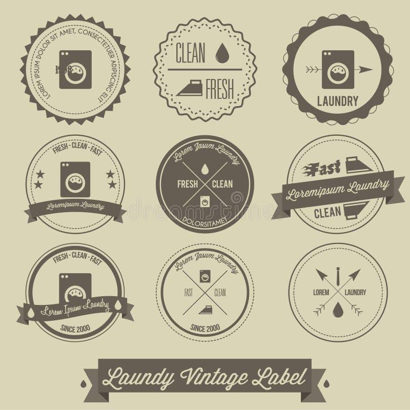 Wäschereigeschäfts-Weinleseaufkleber stock abbildung