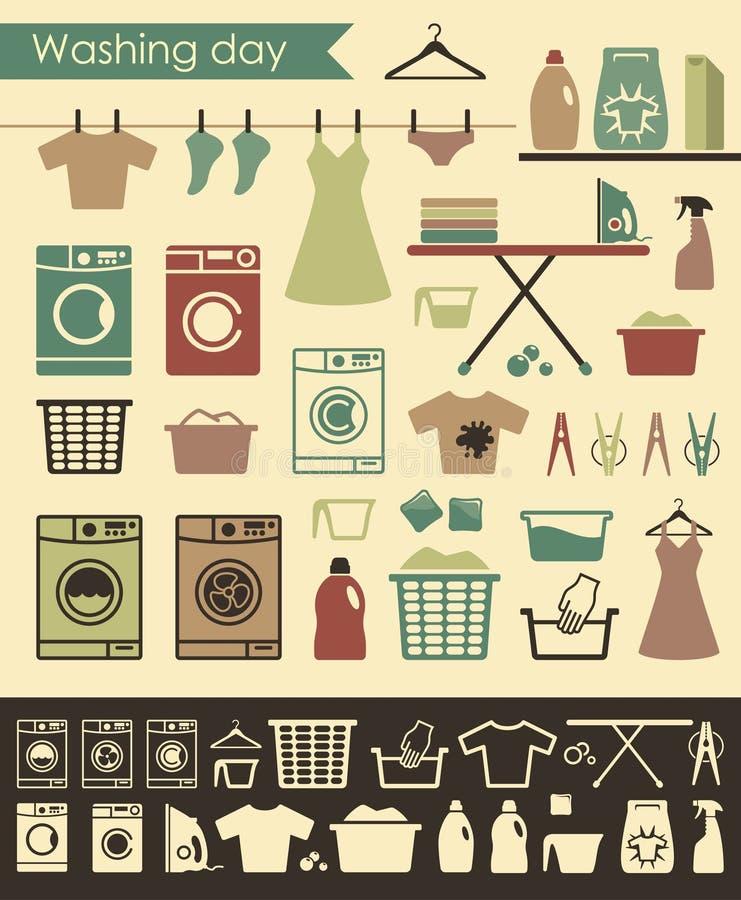Wäschereiikonen lizenzfreie abbildung