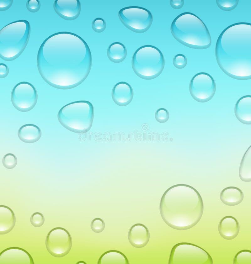 Wässern Sie abstrakten Hintergrund mit Tropfen, setzen Sie für Ihren Text stock abbildung