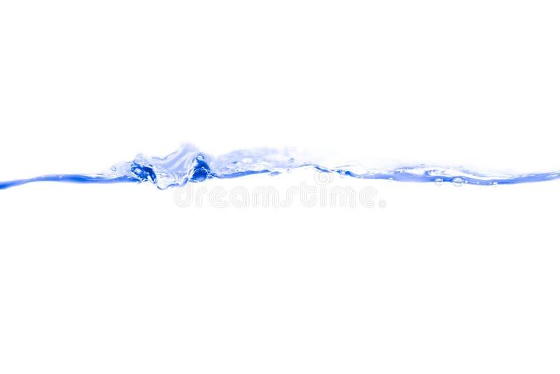 Wässern Sie blaue Tinte des Spritzens und Blasen der Flugschau die Bewegung auf weißem Hintergrund stockbilder
