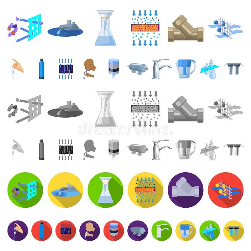 Wässern Sie Filtrationssystem-Karikaturikonen in der Satzsammlung für Design Reinigungsanlagevektorsymbol-Vorratnetz vektor abbildung