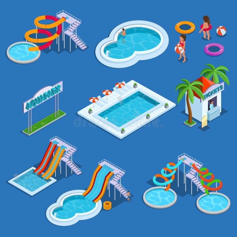 Wässern Sie Park und isometrische Vektorillustration des Swimmingpools stockfoto
