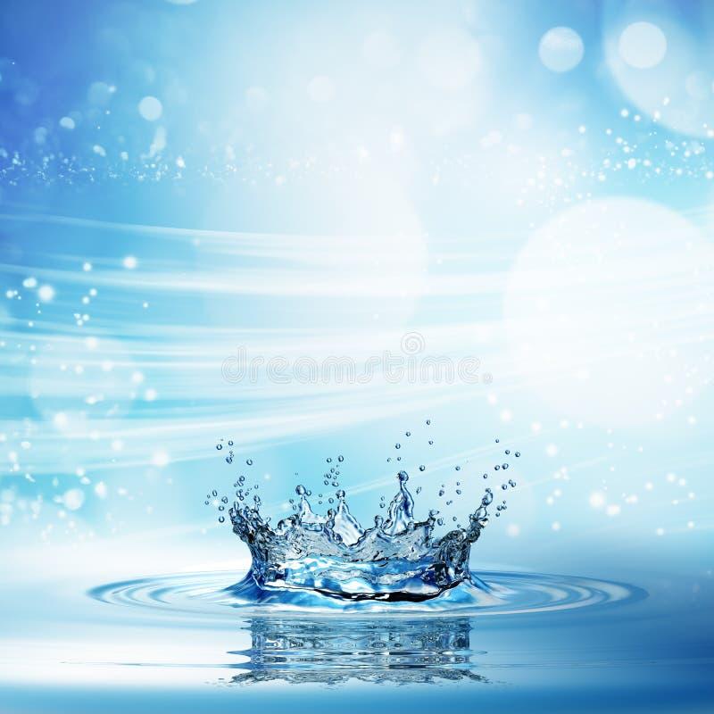 Wässern Sie Spritzen in der dunkelblauen Farbe mit einem Wassertropfenfliegen von oben stock abbildung