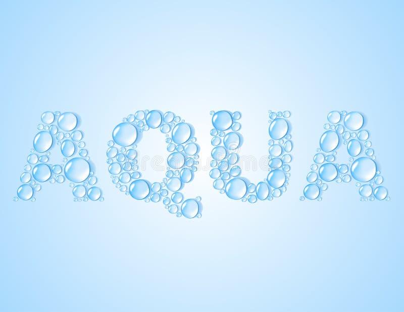 Wässern Sie Tropfen geformtes Wort AQUA - vector Hintergrund vektor abbildung