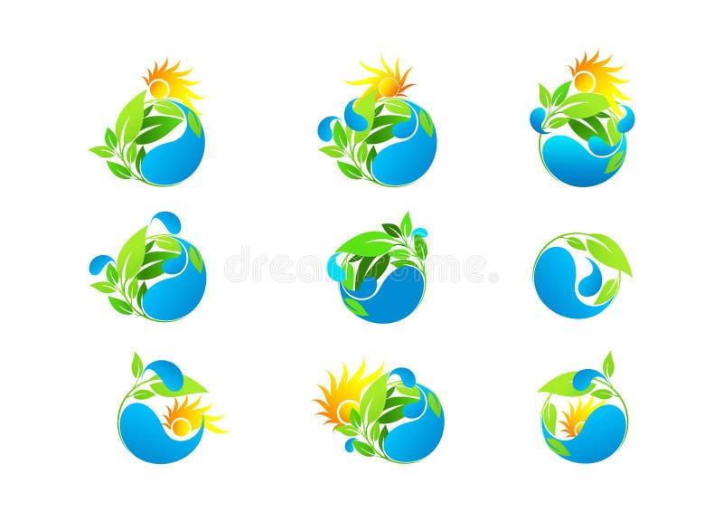 Wässern Sie Tropfen, Logo, das Blatt, umweltfreundlich, frisch, gesund, Wachstum, Konzeptökologievektordesign-Ikonensatz stock abbildung