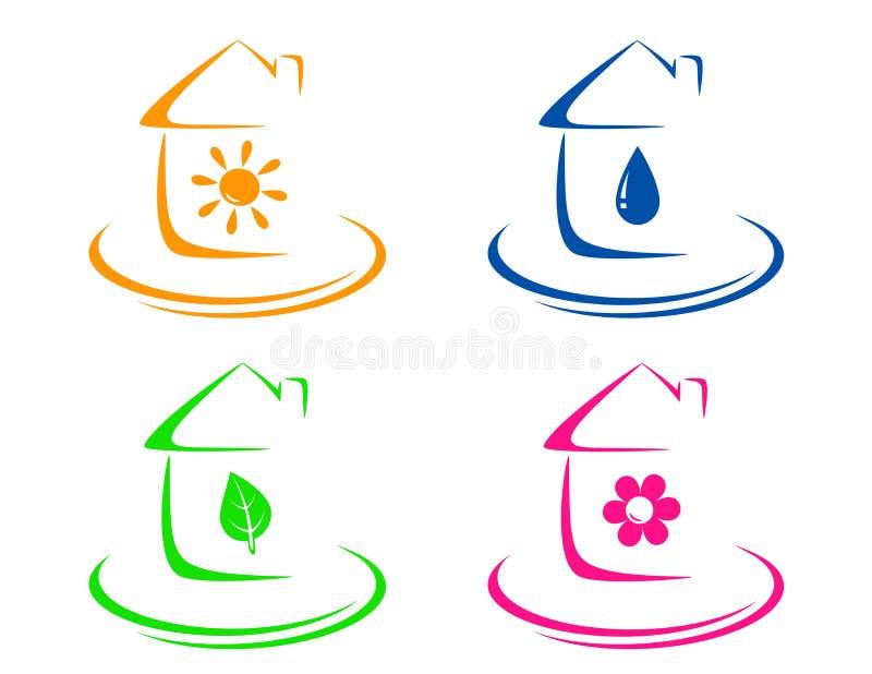 Wässern Sie Tropfen, Sonne, Blatt und blüht Ikonen stock abbildung